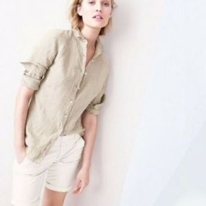J.Crew Tan Button Down Linen Perfect Shirt